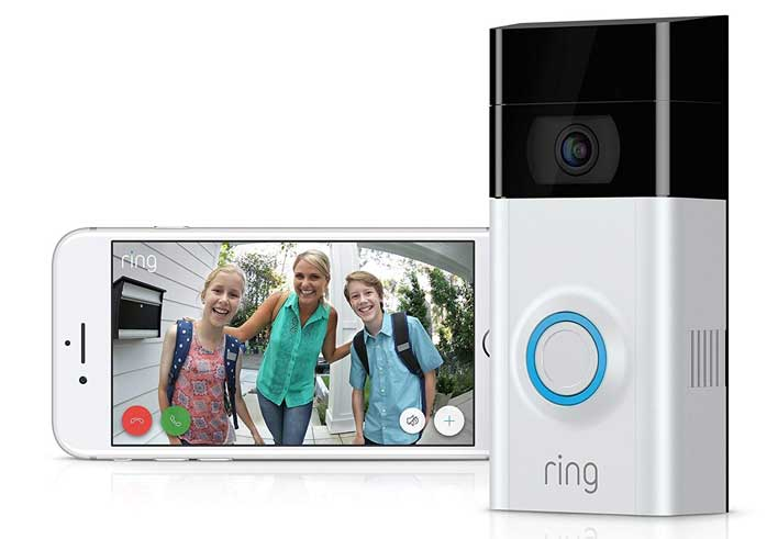 This Ring video doorbell advertisement has been simplified to two images – the doorbell and the image you get on your smartphone showing who is on your doorstep. The visitor faces you see are friendly, but the ad subtly underlines the product's value when more malign intruders come knocking.