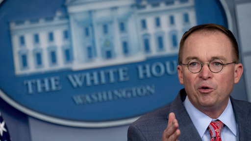 Acting White House Chief of Staff Mick Mulvaney admitted there was a quid pro quo in sending aid to Ukraine, then unsuccessfully tried to walk back the admission. [Photo Credit: Andrew Harrer/Bloomberg News]