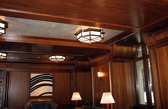 Faux Bois y Faux parchment. Library at 15 Central Park West, NYC. Designed by: Robert A.M Stern Interiors