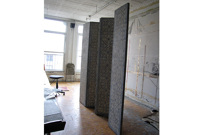 Moroccan Screen: Stencil on burlap. Private residence, Antigua.  Designer Lien Luu.