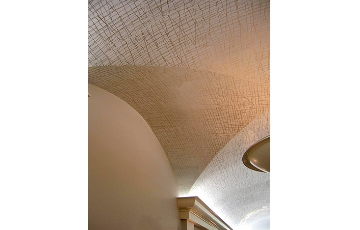 White Squares: White Venetian plaster on canvas and hand printed pattern. Berkeley Hotel - London, UK. Designer: Alexandra Champalimaud Associates.