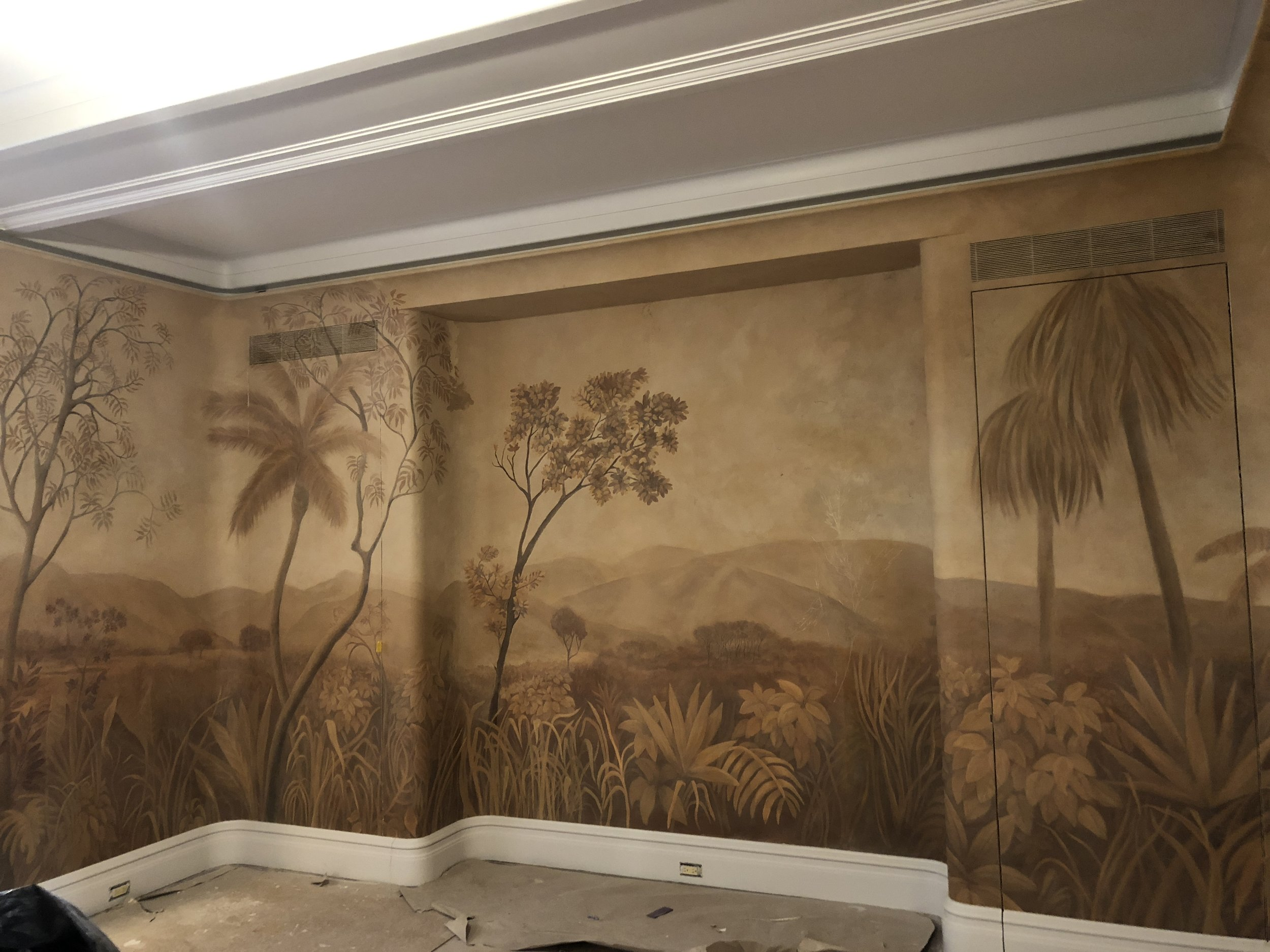 PARK AVENUE RESIDENCE: Mural In progress; site specific hand painted landscape on burlap and plaster
