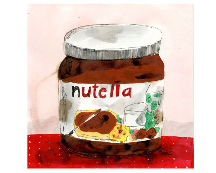 how to make nutella, illustrated recipe, nutella illustration,