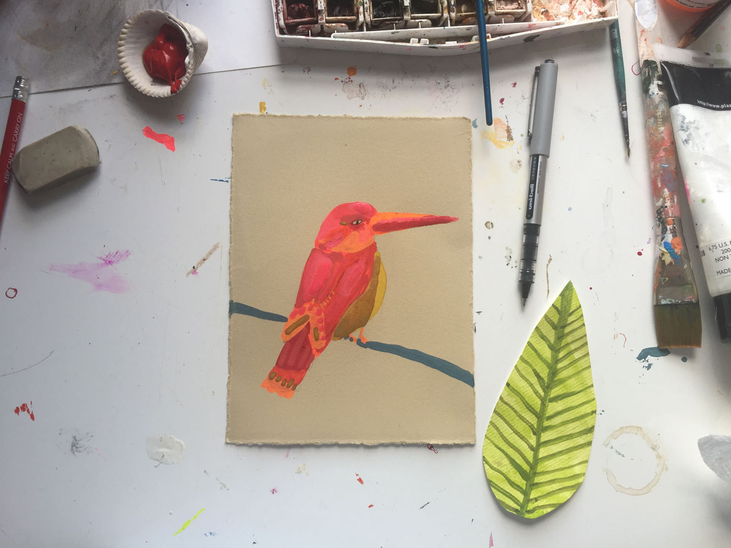 bird painting process