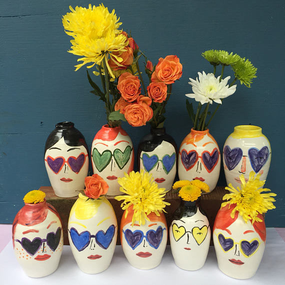 heart sunnies ceramic vases