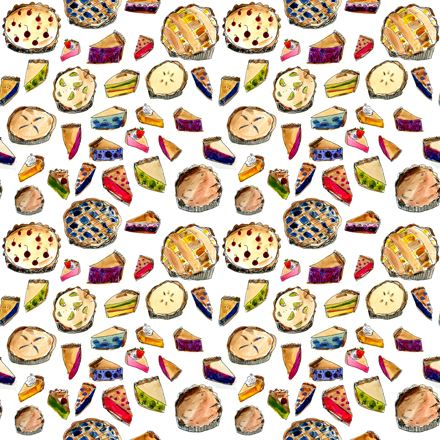 illustrated pie pattern