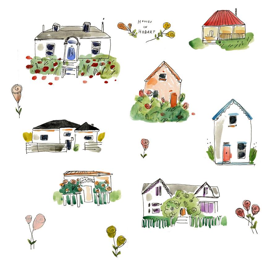 Houses in Hobart illustration