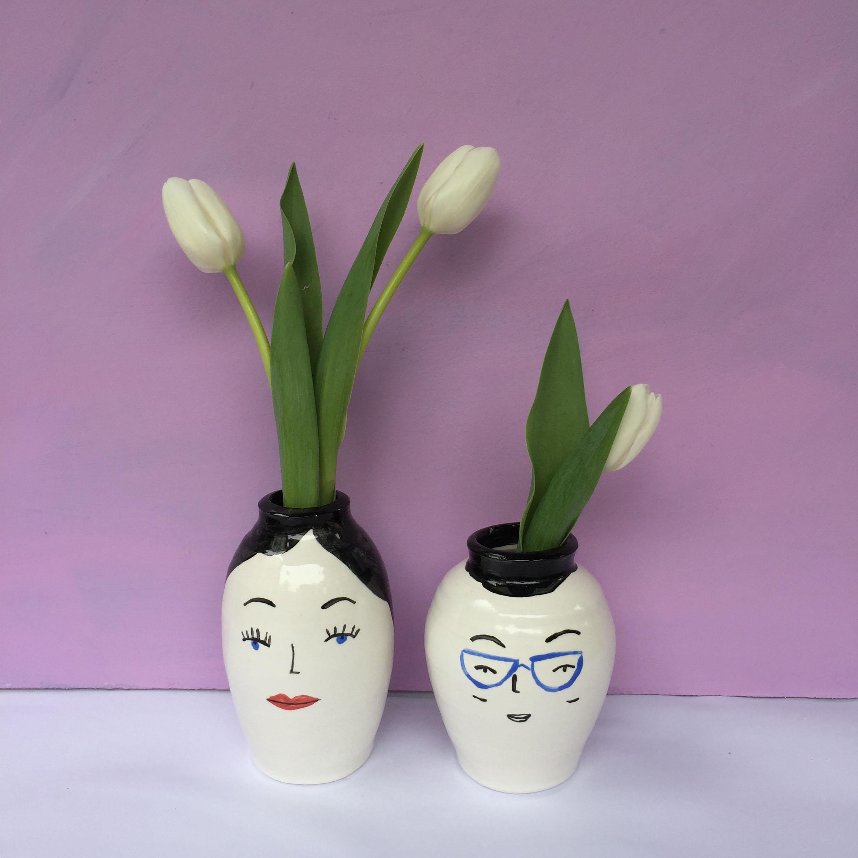 Ceramics face pair- Elizabeth Graeber