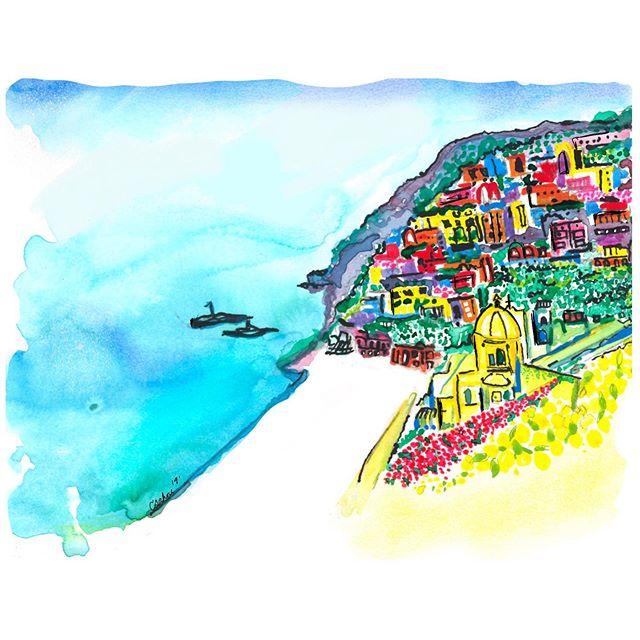 💛postcard from #positano 💙 • • • • #travel #italy #lemons #inspire #create #artist #love #painting #mua #ceramics #wanderlust #illustrator #ig #yogi #jj #photography #chicago #chicagobloggers #art #handmade #happy #dreamer #musician #doodle #quotes #calligraphy #wanderlust #shetravels