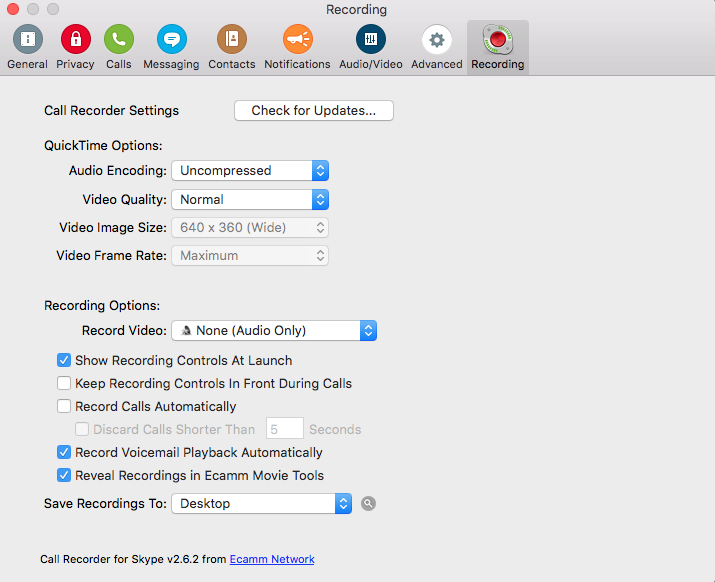 Ecamm Call Recorder setting within Skype