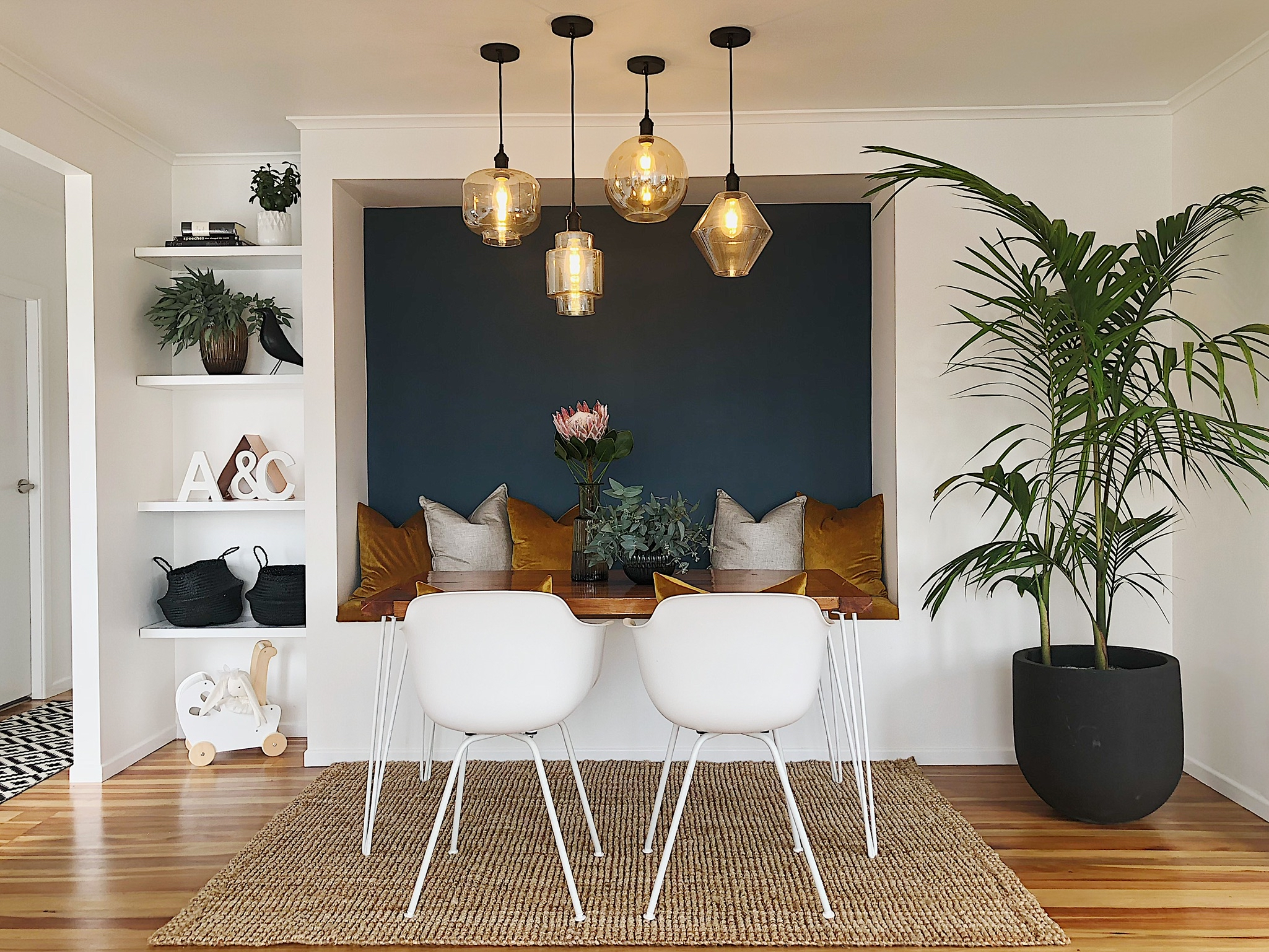 Pearson and Projects Relocatable Reno Dining Project The Block NZ Reveal Black Reef Mt Aspiring Pot Plant Palm.jpg