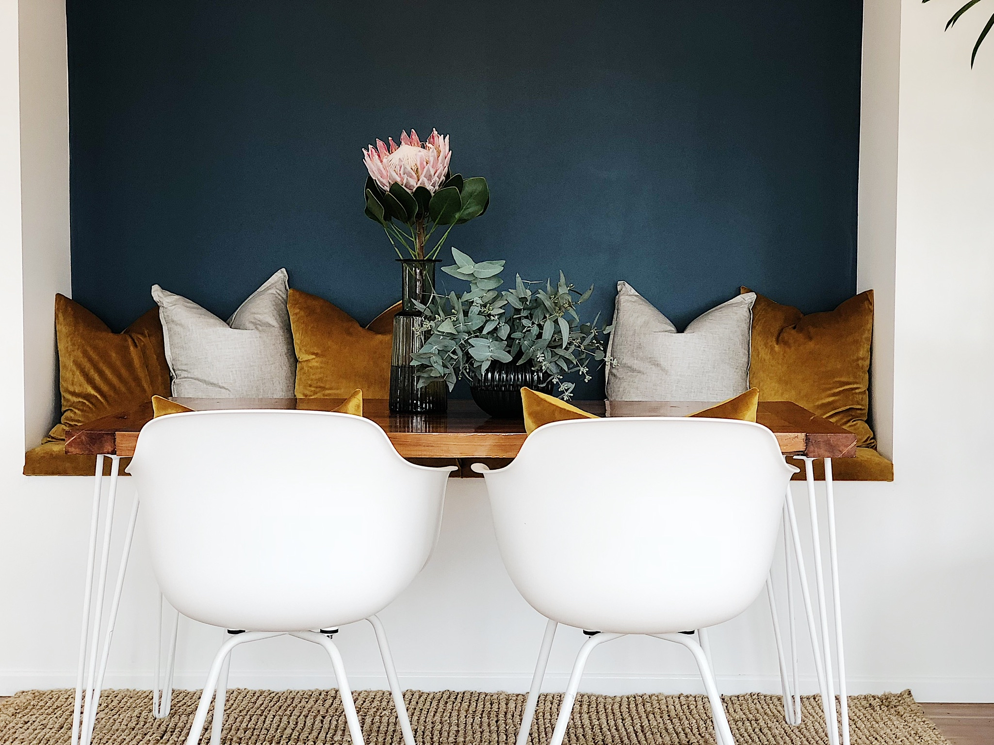 Pearson and Projects Relocatable Reno Dining Project Table Chair Swab Seat Cushions Vase Gold Mustard.jpg