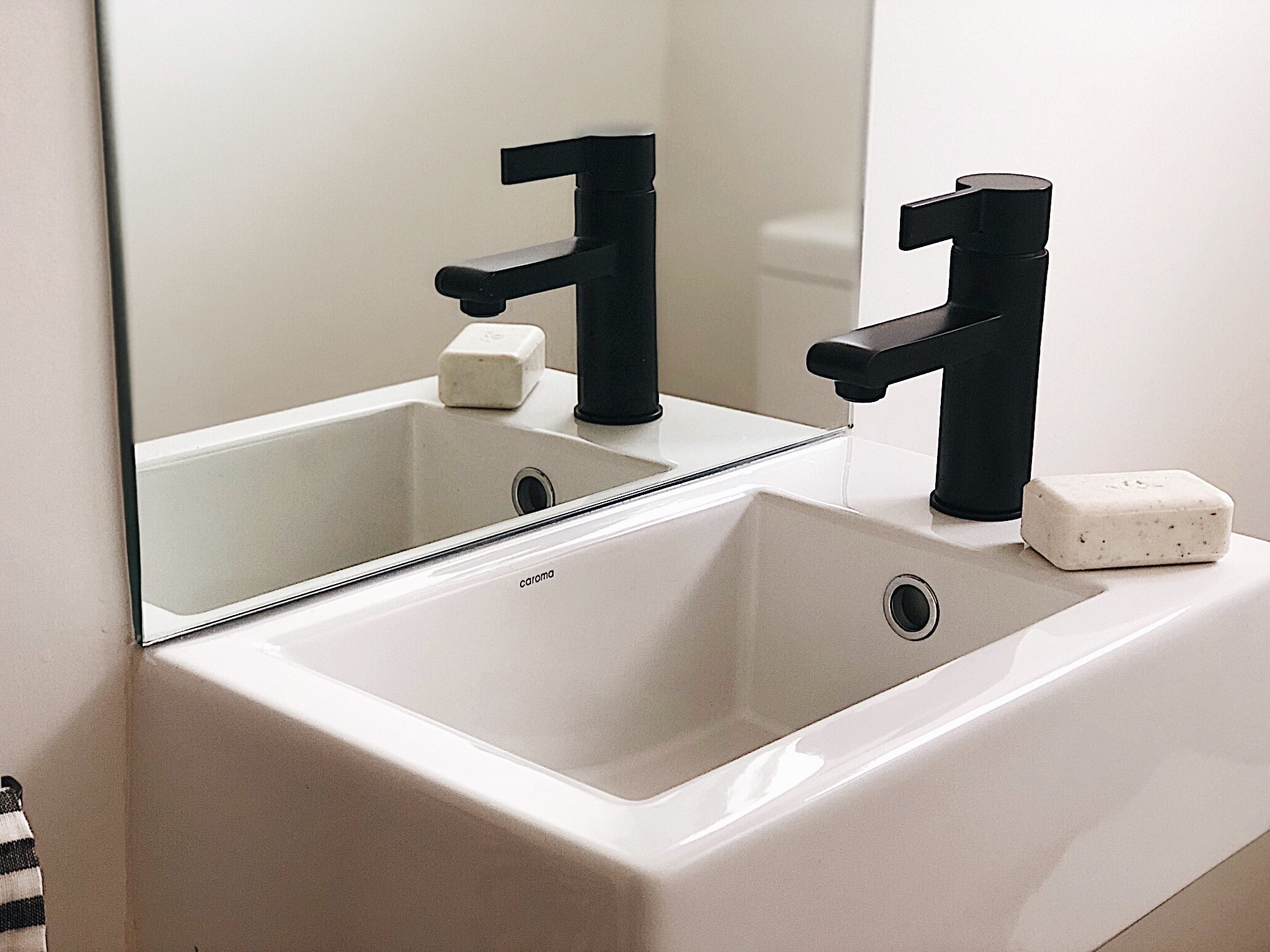 Pearson and Projects Relocatable Reno Bathroom Project Power Room Wall Basin  Black Accents.jpg