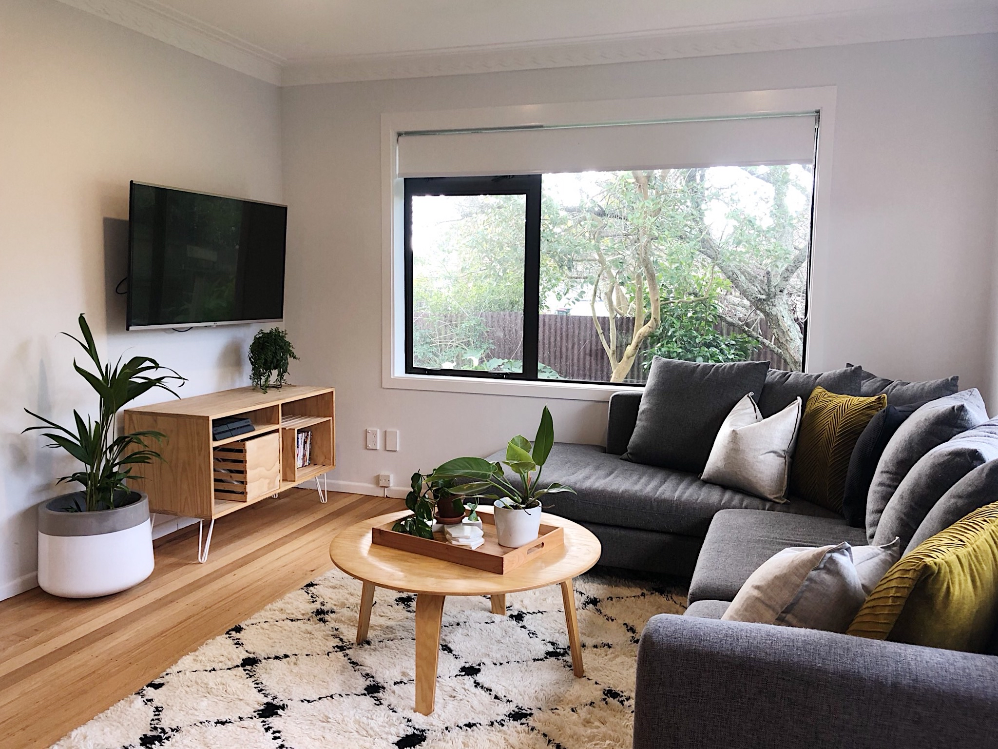 Pearson + Project The Reno Race The Rookies Lounge Tawa Floor Small Space Lounge Plant TV Unit Coffee Table Grey Couch.jpg