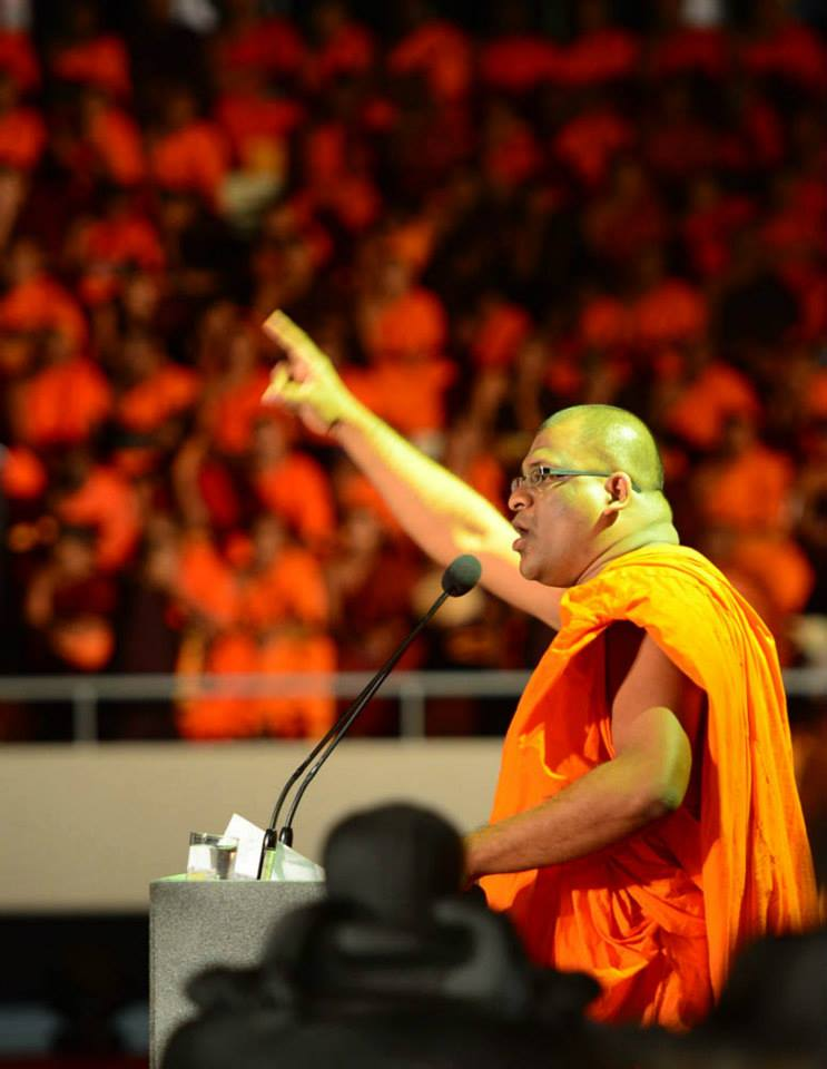 Ven. Gnanasara Thero of the Bodu Bala Sena, a Sinhalese Buddhist nationalist organisation in Sri Lanka.  Picture via Colombo Telegraph .