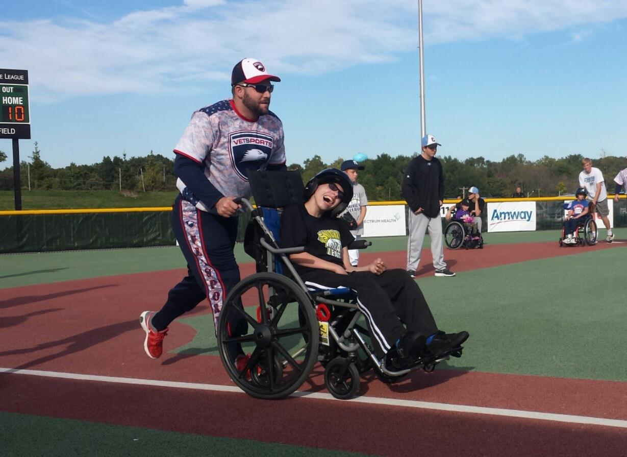 Chris participating in the VETSports and West Michigan Miracle League event in Grand Rapids, MI. Chris has been a leader, volunteer, and member of VETSports since 2012.