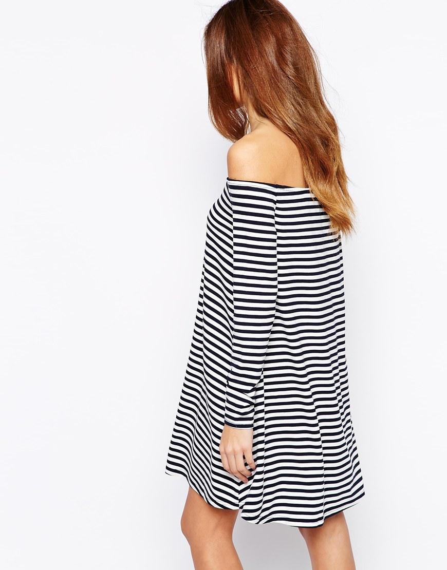 off shoulder stripy dress