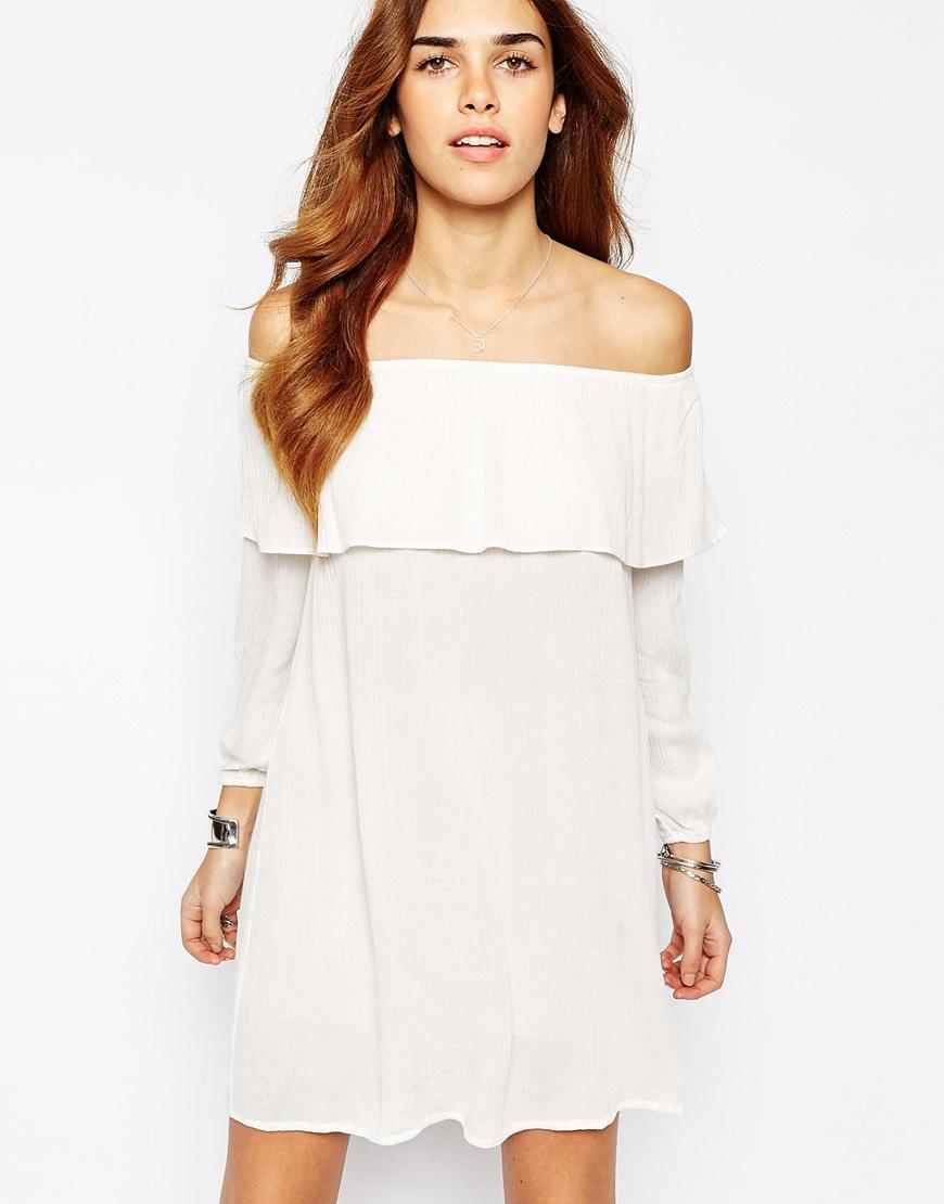 off shoulder dress white