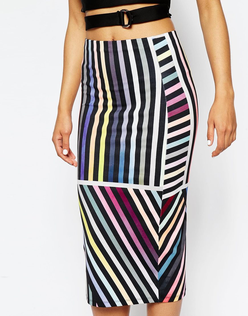 ASOS Printed Variegated Stripe Pencil Skirt