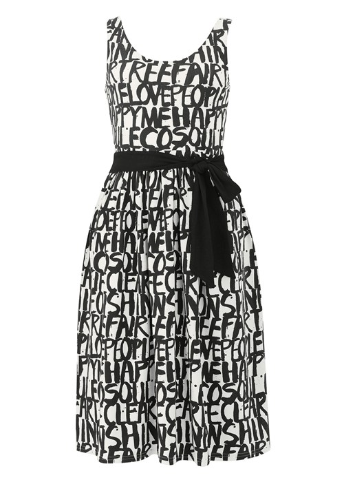 SIMEON FARRAR GRAFITTI DRESS IN BLACK
