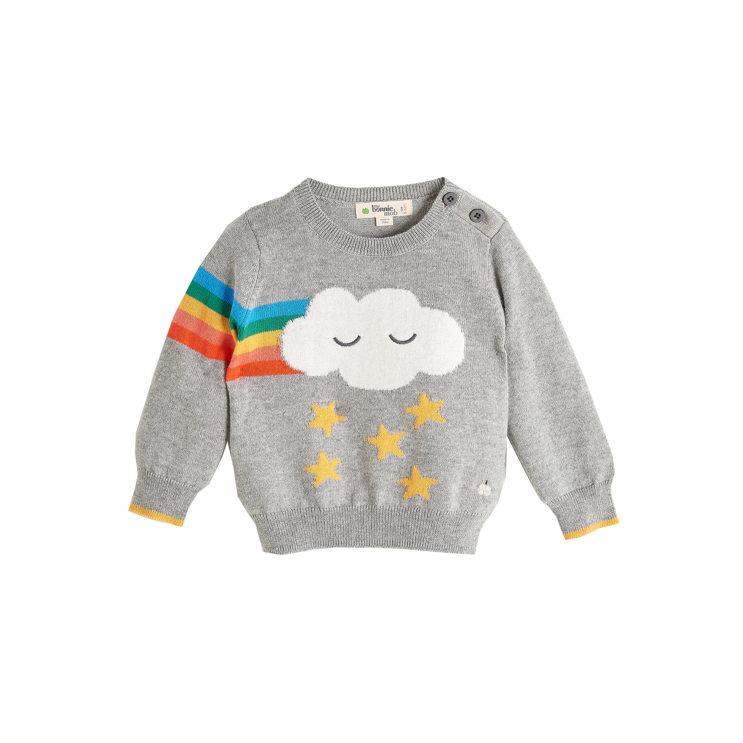 THE BONNIE MOB GRANDMASTER 2389_grey_ baby kids rainbow cloud intarsia sweater_THE BONNIEMOB_AW18_w.jpg