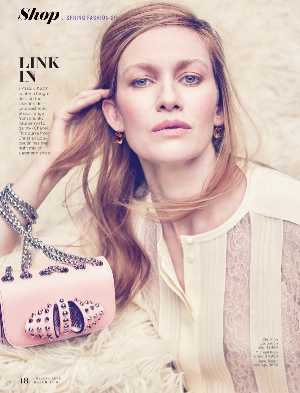 Jane Taylor Jewelry Cirque tassel earrings in the March 2016 issue of LA Magazine on Mireille Enos