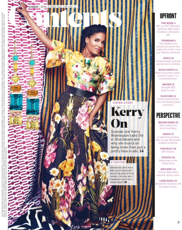 Kerry Washington on the inside cover of ADWEEK wearing Jane Taylor Jewelry tassel earrings with London blue topaz, turquoise, citrine, yellow and orange sapphire