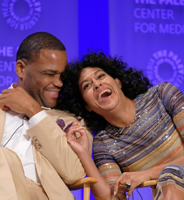 Tracy Ellis Ross at Paley fest with Anthony Anderson for Blackish, wearing Jane Taylor Jewelry Cirque rings with topaz, citrine, morganite