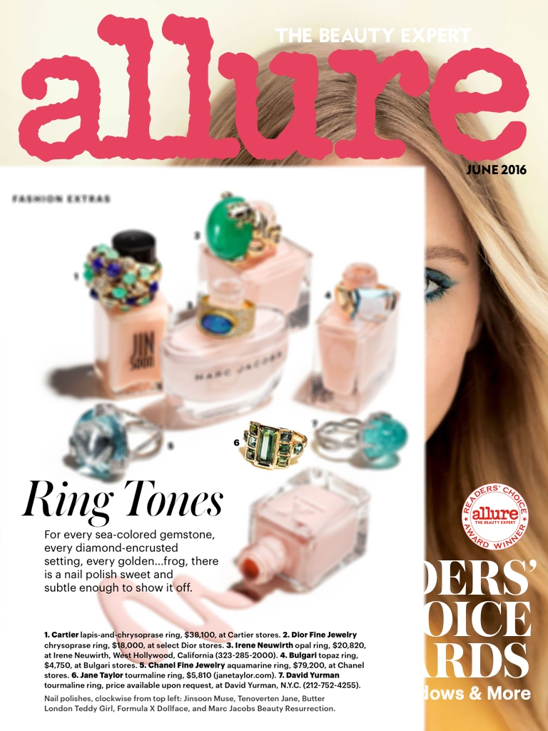 Allure June 2016 - Ring Tone - Jane Taylor Jewelry mixed green tourmaline ring in 18K yellow gold
