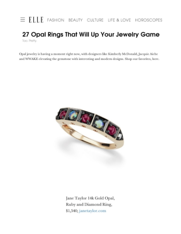 Elle.com - 27 Opal Rings That Will Up Your Jewelry Game - Jane Taylor Jewelry