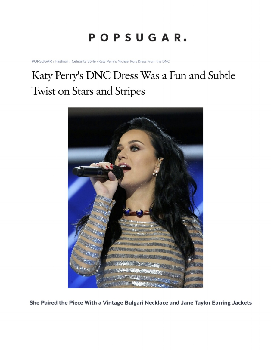 Popsugar - Katy Perry's DNC Dress Was a Fun and Subtle Twist on Stars and Stripes - Jane Taylor Jewelry