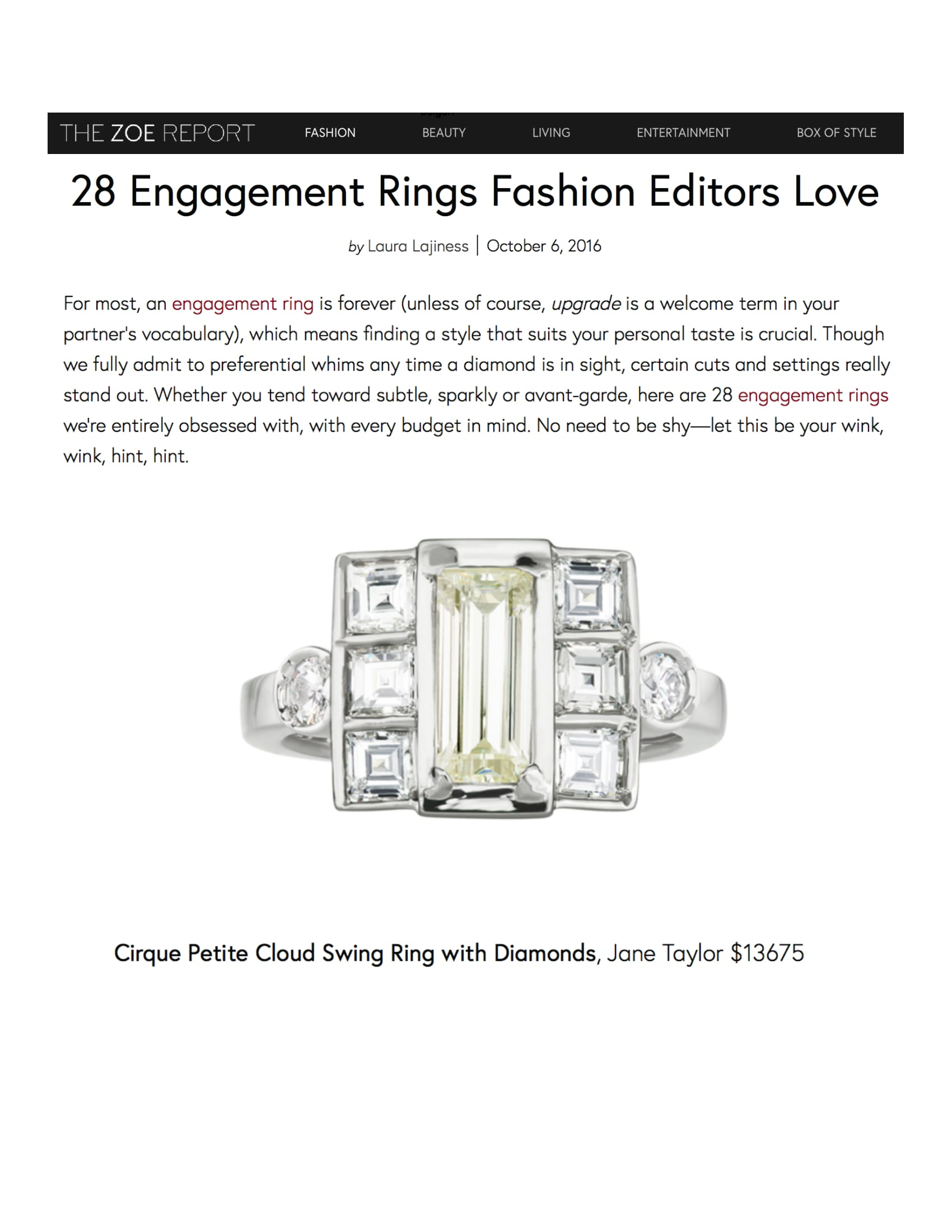 The Zoe Report - 28 Engagement Rings Fashion Editors Love - Jane Taylor Jewelry