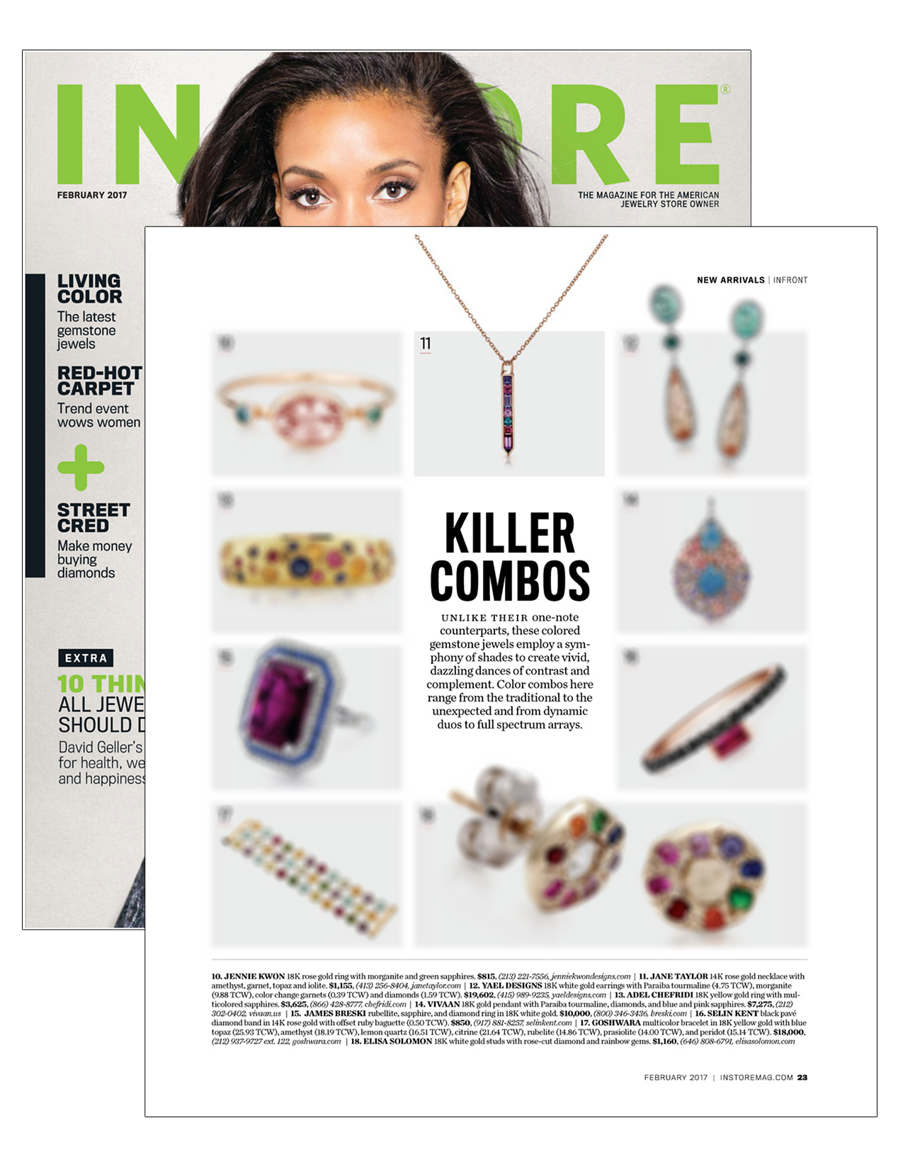 Jane Taylor Vertical Arrow Necklace in the Ferurary Issue of InStore Magazine