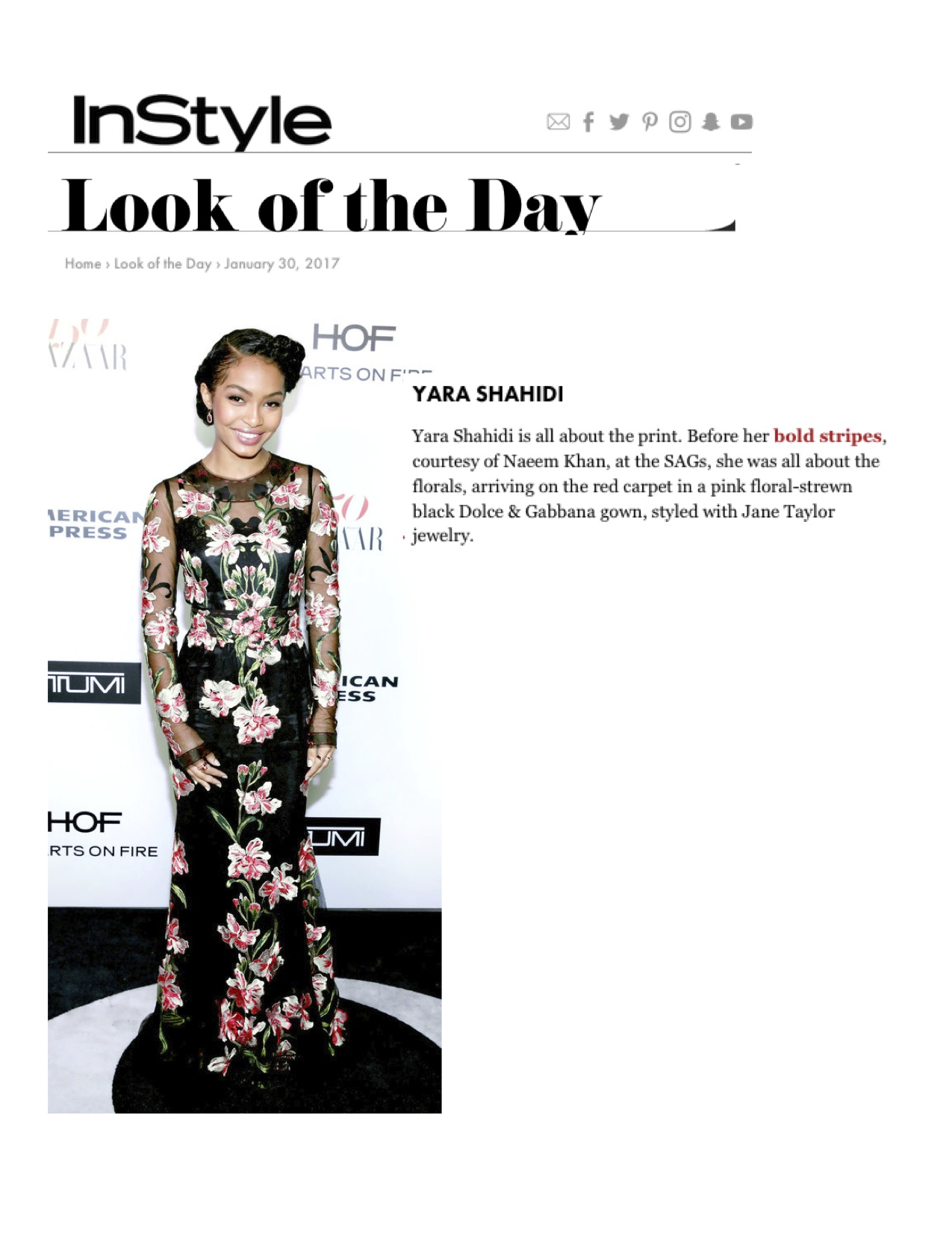 InStyle.com look of the day with Yara Shahidi in Jane Taylor Jewelry