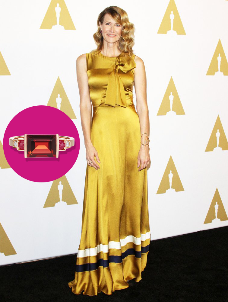 Laura Dern at the 2017 Academy Awards Luncheon wearing a Jane Taylor garnet ring