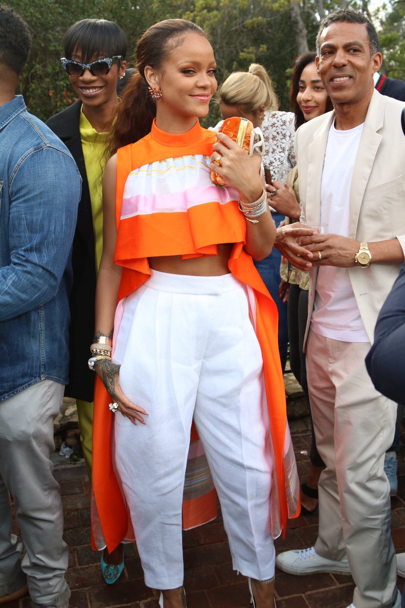 """Rihanna wearing Jane Taylor """"Lion Tamer"""" ring to the Roc Nation pre-Grammy's brunch"""