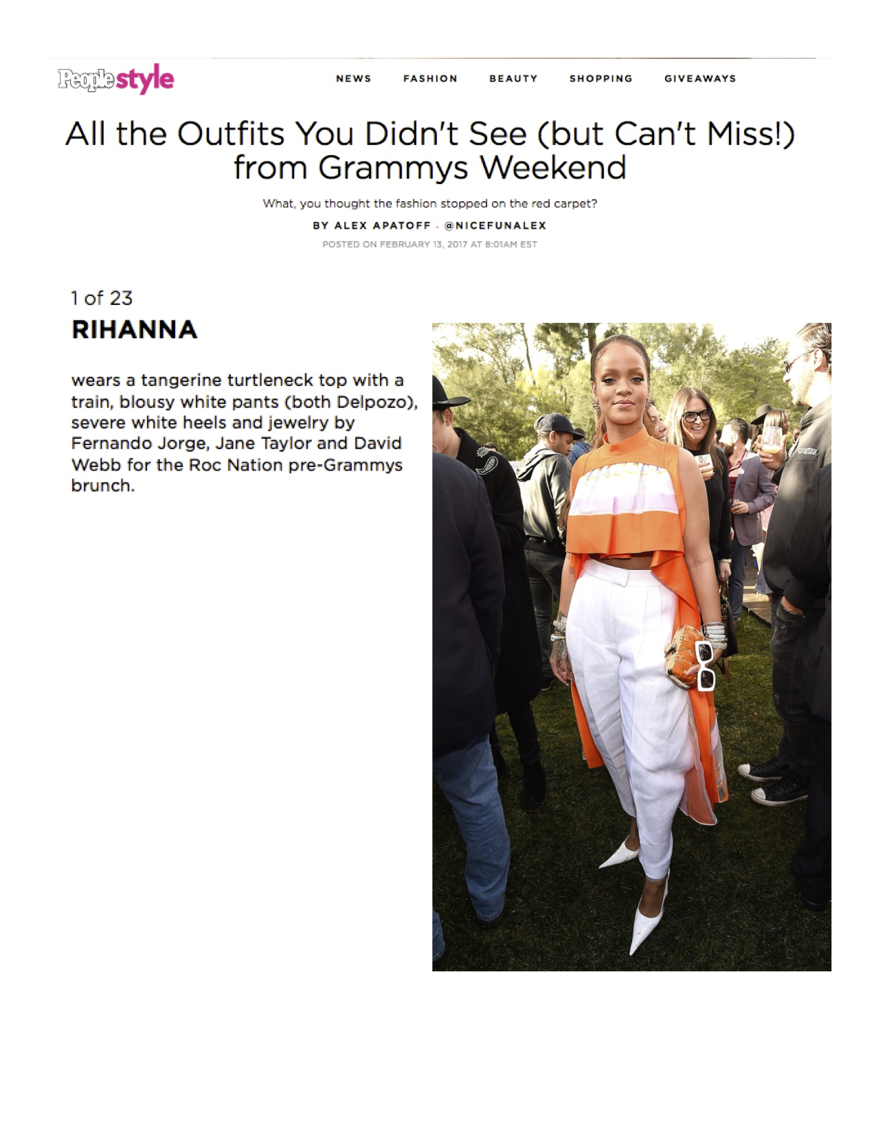 """Rihanna on People.com - wearing Jane Taylor """"Lion Tamer"""" ring to the Roc Nation pre-Grammy's brunch"""