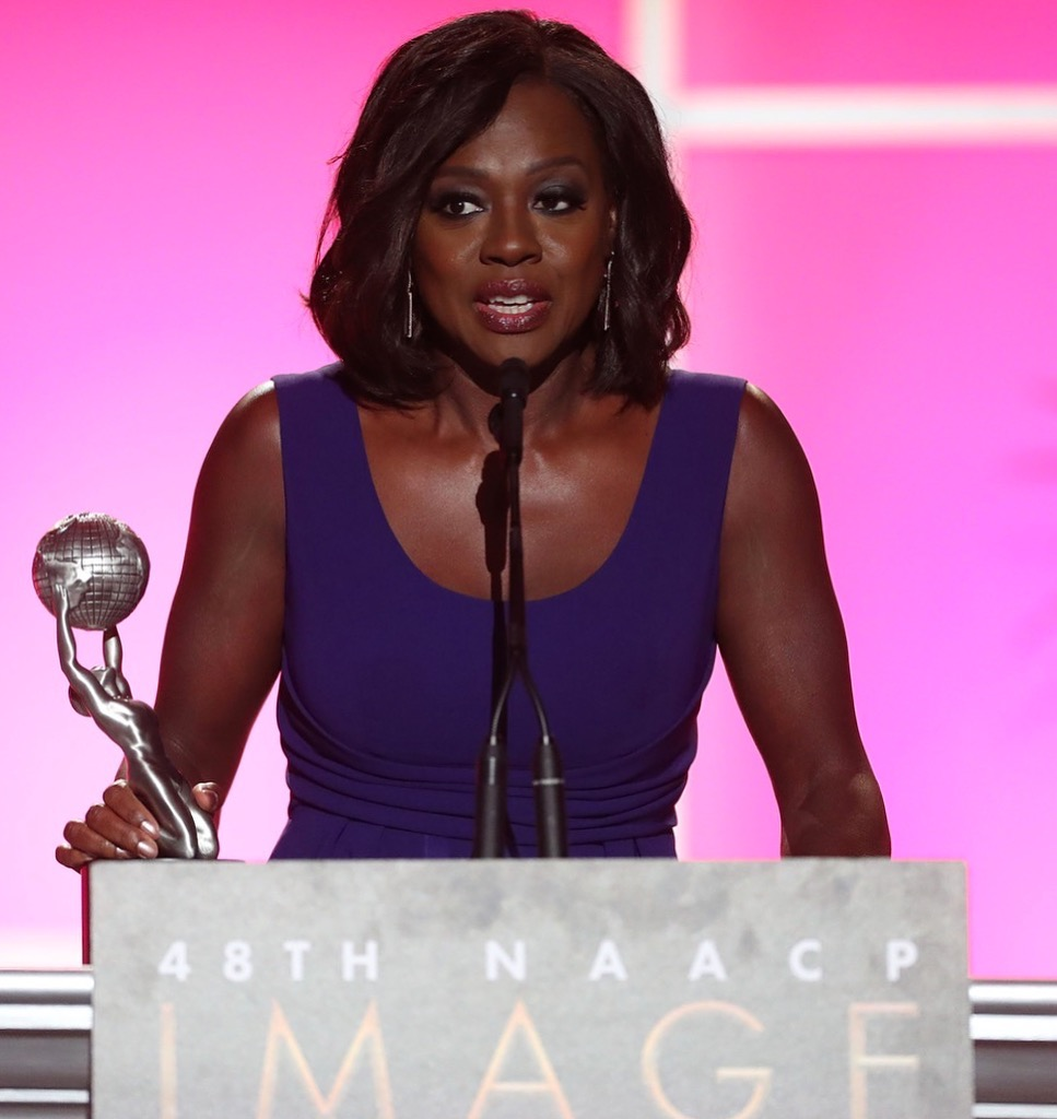 Viola Davis at the 48th NAACP Image Awards in Jane Taylor's double drop baguette Rosebud earrings