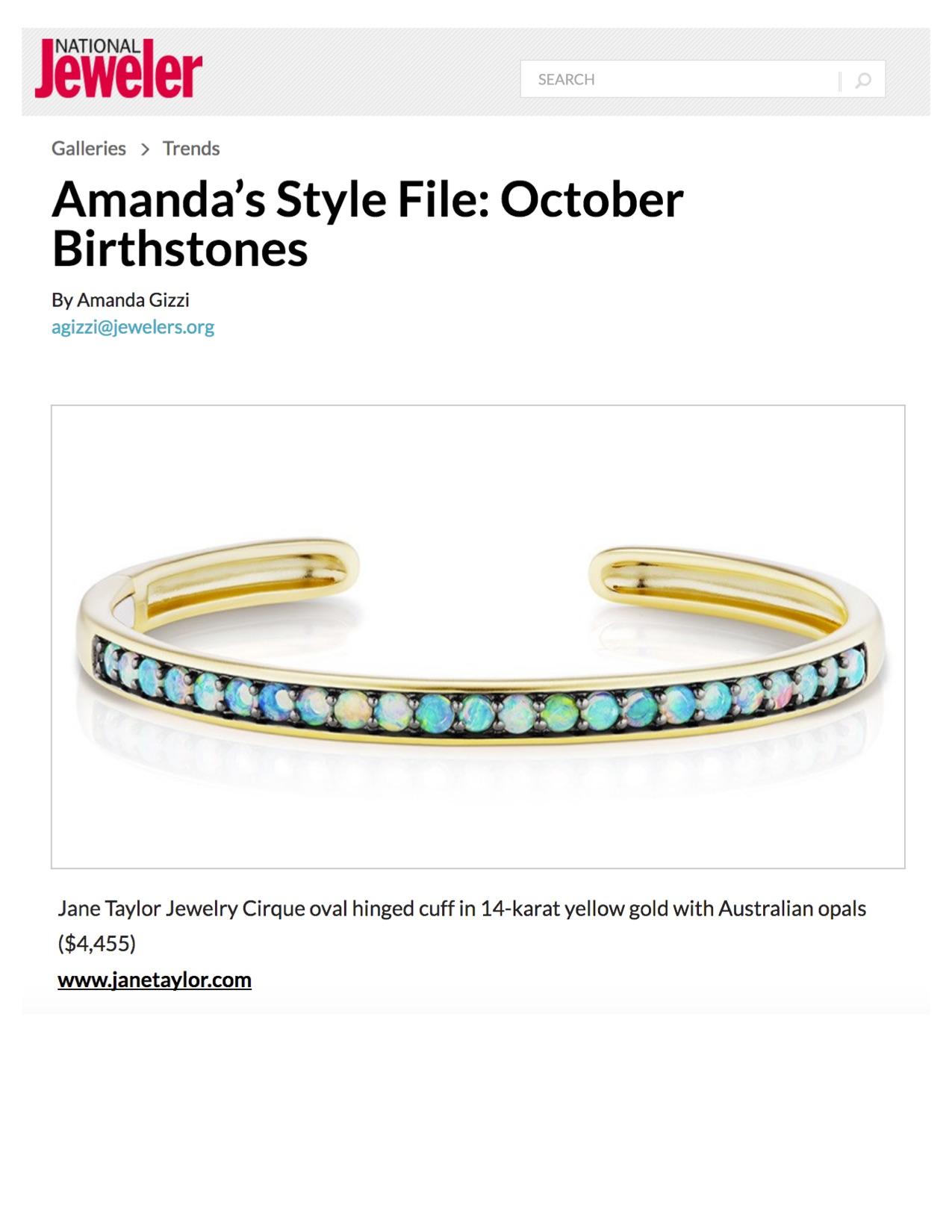 Jane Taylor Cirque Oval Hinged Cuff with Opals on NationalJeweler.com
