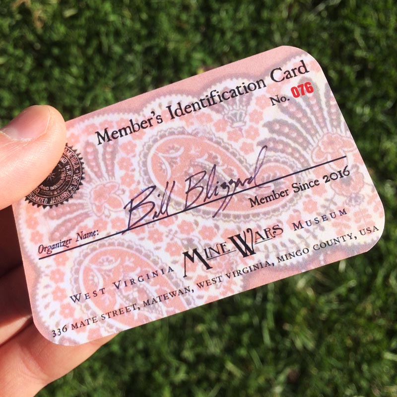 Museum Members will be sent an official West Virginia Mine Wars Museum Member Card, modeled after the United Mine Worker's of America Member Card