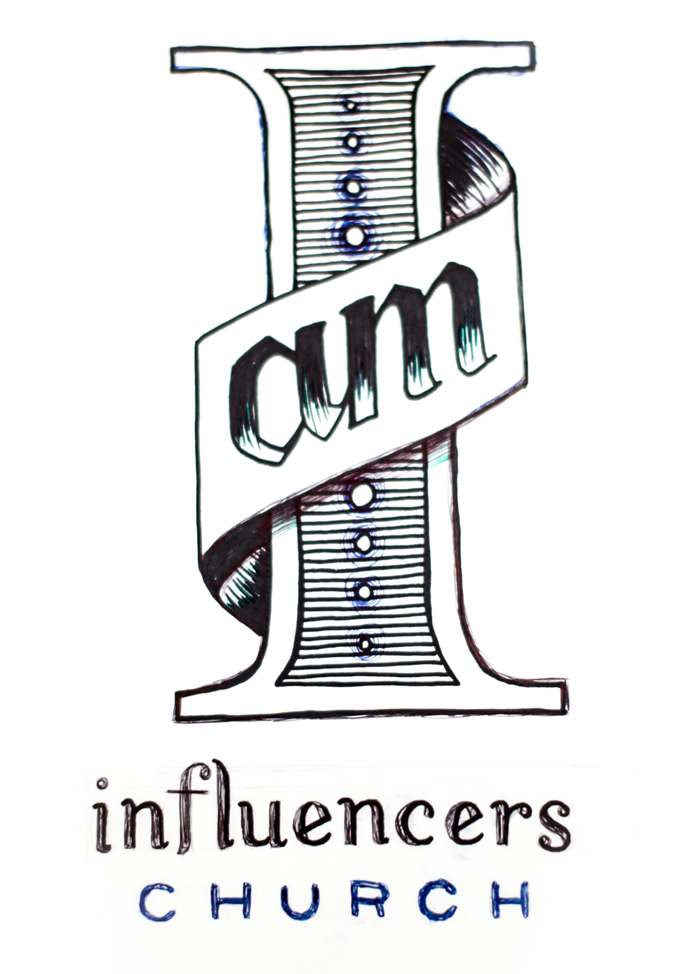 """Hand drawn in a similar style to the invitations, the artwork featured a massive roman numeral onein celebration of the 1year Anniversary which doubled as an """"I"""" toread""""I am Influencers Church."""""""