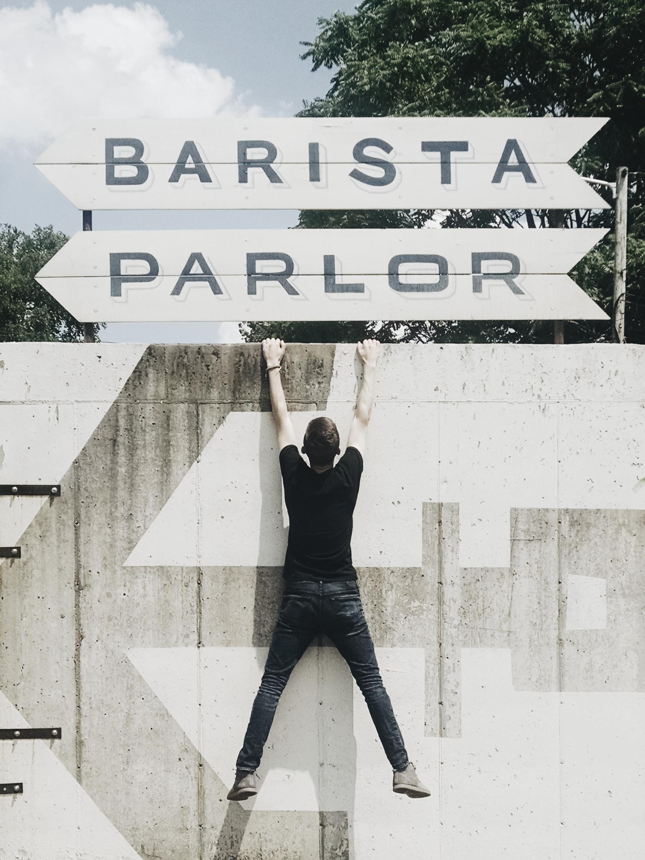 Gill hanging at the Barista Parlor.