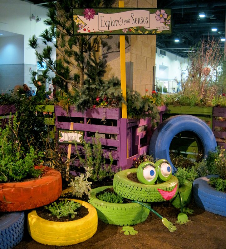 Recycled tires become whimsical planters…