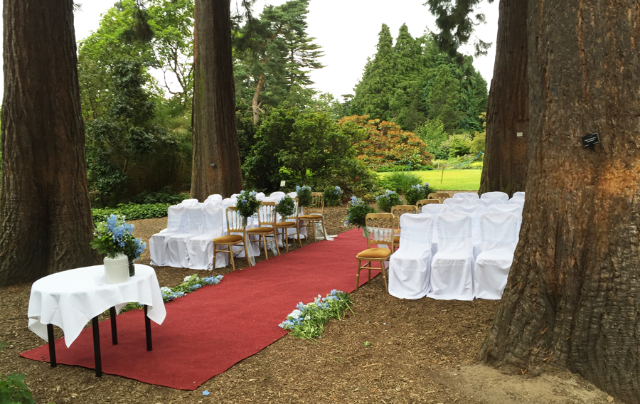 A stand of coastal redwoods planted in the 1920s creates a cathedral-like atmosphere and is a popular site for weddings.