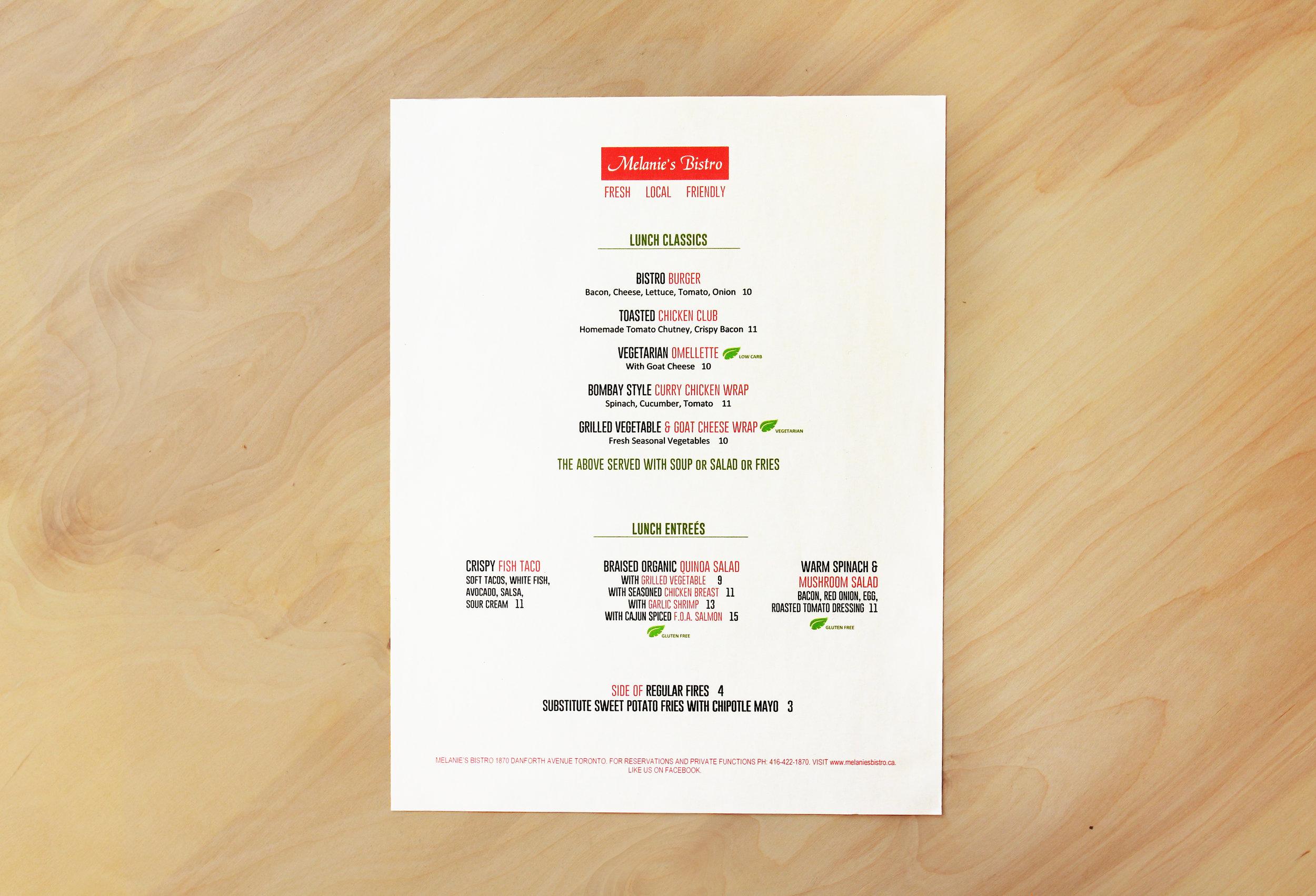 melanie's bistro menu 1