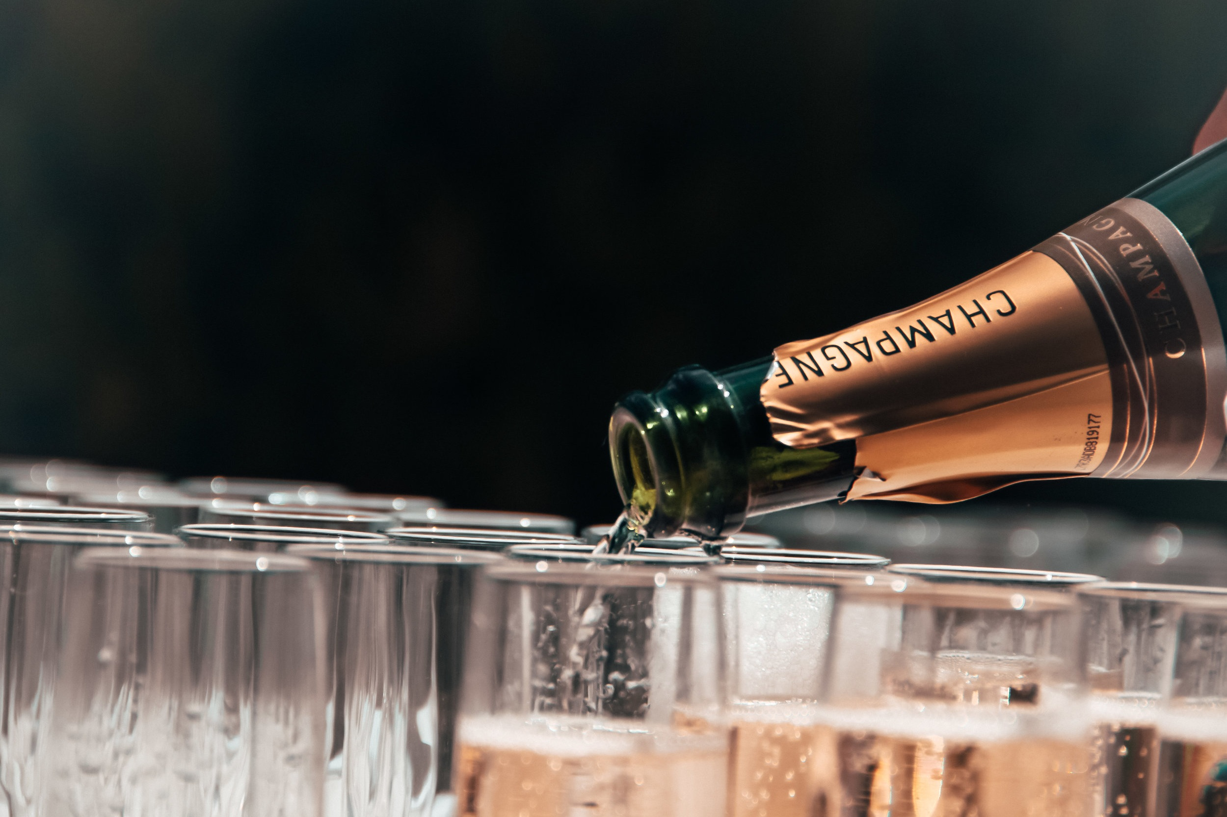 TRAY PASSED CHAMPAGNE EVENT - champagne, water, rentals, staff