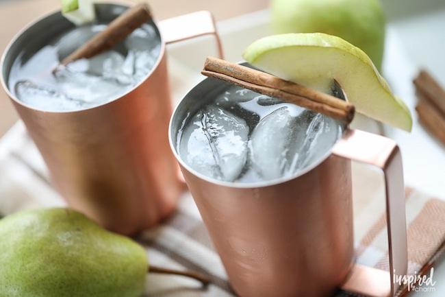 Pear Sage Mule - fresh lime, pear, ginger, sage, splash of club soda, garnished with pear & sage