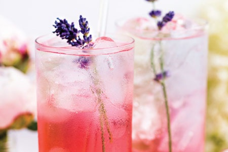 Midnight Lush - fresh lemon, blackberry, concord grape, lavender, garnished with lavender wands & a lemon slice
