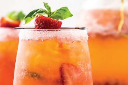 Strawberry Basil Sour - fresh lemon juice, strawberry, basil, splash of club soda, garnished with strawberry & basil