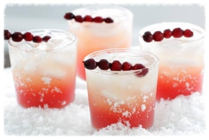 Cranberry Wonderland - cranberry, raspberry, lemon, orange peels, garnished with a cranberry skewer